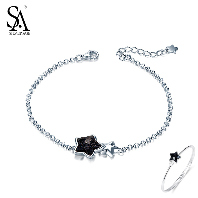 Sa Silverage Black Gemstone Star Bracelets Bangles For Women 925 Sterling Silver Aventurine Bracelet
