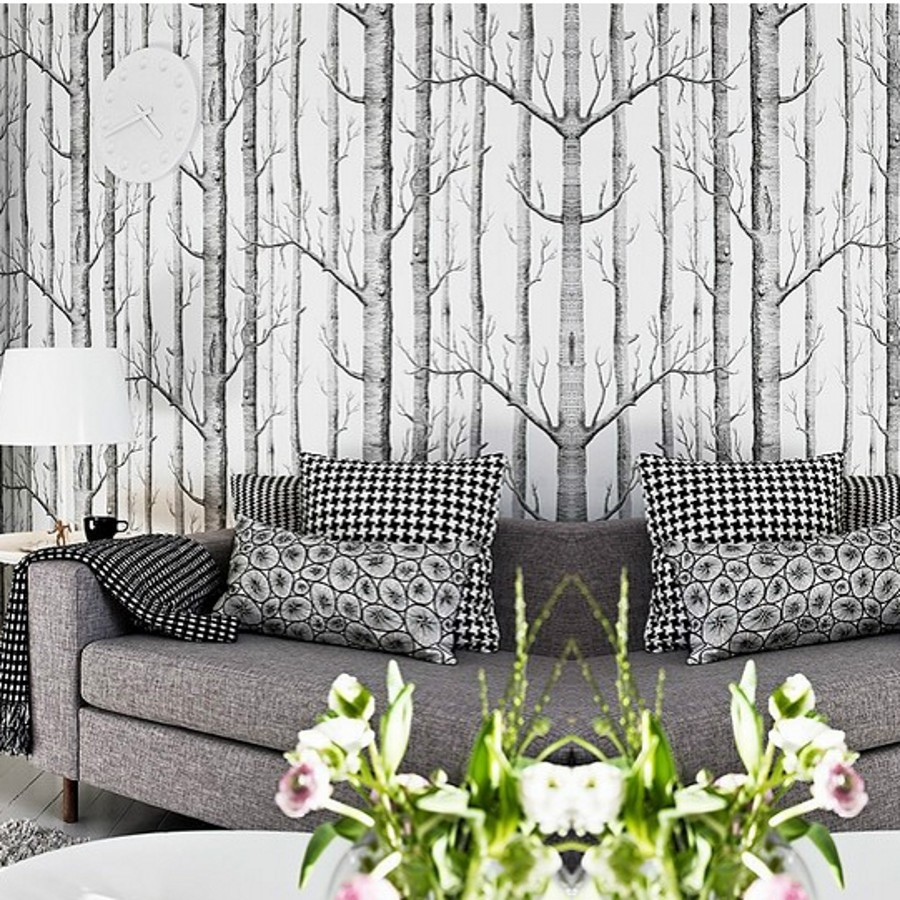 beibehang Tree pattern non-woven woods wallpaper roll modern designer wallcovering black and white wallpaper for living room free shipping hepburn classic black and white photographs women s clothing store cafe background mural non woven wallpaper