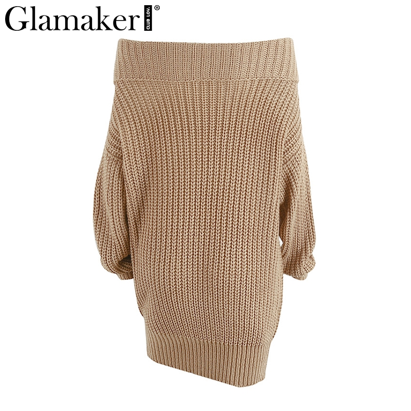 e006ef9c65 Glamaker Off shoulder knitted sweater dress women Knitting oversized short  dress 2018 Spring tricot jumper pullover female-in Dresses from Women s  Clothing ...