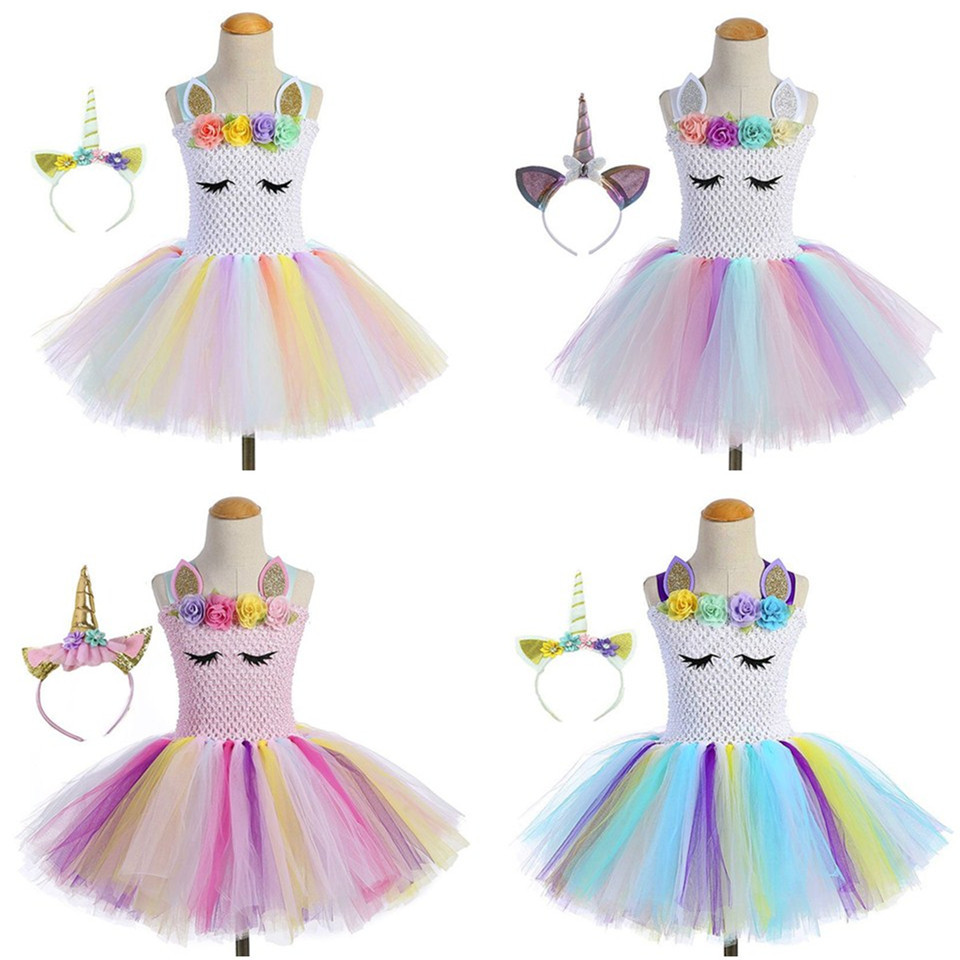 Unicorn Dress With Headpin Girls Princess Dress Rainbow Tutu Skirt Children Halloween Cosplay Party Stage Performance Dresses