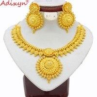 Adixyn Новое индийское ожерелье и серьги набор украшений для женщин золотой цвет и медь Африканский/арабский/Ближний Восток Свадебные/вечерни