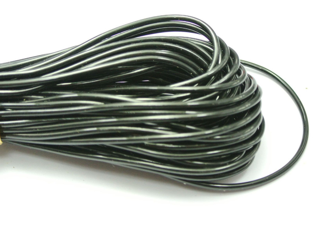 10 Meter Blackk 2mm Plastic Hollow Rubber Tubing Jewelry Cord Cover Memory Wire