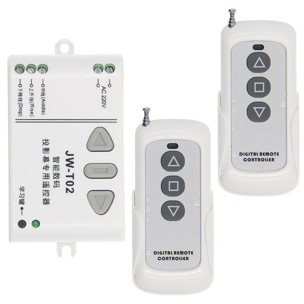 AC 220V Motor RF Wireless Remote Control Switch System,UP DOWN Motor Reversing Controller,1 Receiver +2 Transmitter ac 220v 1channel 10a rf wireless remote control switch system 4 receiver