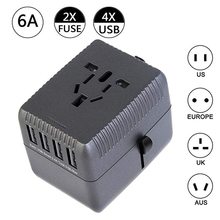 Travel Adapter International Universal Power Adapter With 5A 4 USB Type-C Port Worldwide Wall Charger For US AU UK EU Plug vina ups 001a safety 4 port usb fast charger with power adapter black us plug