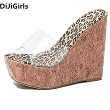 DiJiGirls High Quality PVC High Heel Women Sandals Invisible Shoe Vision Slippers Wedge Heels Sexy  Noble Cork Sole Woman Shoes dijigirls cross strap high heels fish mouth leisure series chain sandals shoes woman high quality gladiator women free shipping