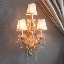 Cristalina moderna llevó las luces de pared forjado lámpara de pared de hierro tres luces grande apliques para hotel de la pared de luz con pantalla de tela aplique de la pared pantalla de tela aplique de pared del bañ