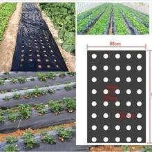5 отверстий 95 см * 50 м 0,02 мм, черная садовая мембрана для овощей, сельскохозяйственные растения, мульчирование, сеялка, пластиковая перфорированная полиэтиленовая пленка