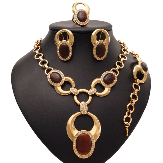 YULAILI Fashion African Jewelry Sets Women Costume Nigerian Wedding Gold Color Necklace Bracelet Earrings Ring Accessories viennois new blue crystal fashion rhinestone pendant earrings ring bracelet and long necklace sets for women jewelry sets