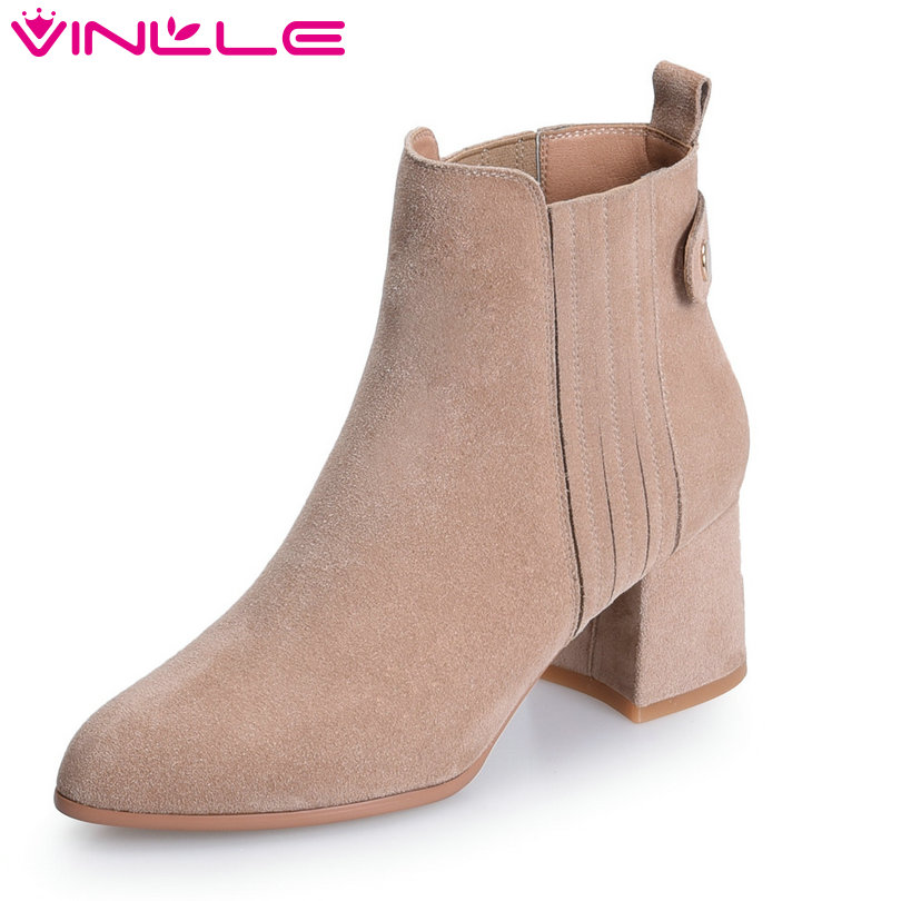 VINLLE 2018 Women Boots Ankle Boots Winter Square High Heel Pointed Toe Cow Suede Slip On Ladies Motorcycle Shoes Size 34-39 vinlle 2018 women ankle boots shoes buckle cow suede square med heel pointed toe slip on ladies motorcycle shoes size 34 40