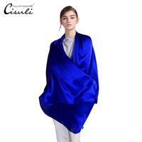 100% Silk Satin Long Scarf 55X180cm Pure Mulberry Silk Plain Color Silk Scarf Factory Direct Online Store 11 Royal Blue