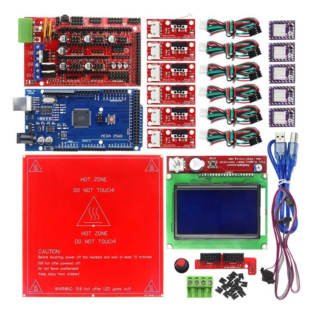 Reprap Ramps 1.4 Kit with Mega 2560 r3 + Heatbed MK2B + 12864 LCD Controller + DRV8825 +Mechanical Switch +Cables for 3D Printer elecfreaks 3d printer ramps reprap exaltation kit