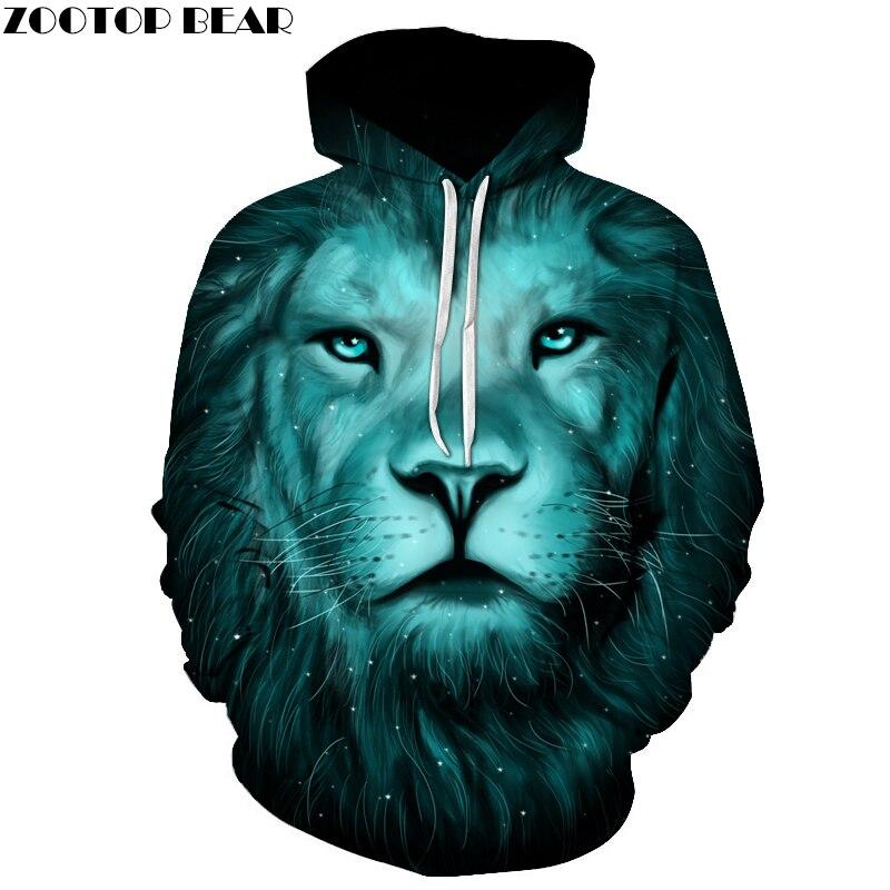 Re leone Felpe Stampate Donne Degli Uomini 3D Novità Felpe Pullover di Modo Della Novità Con Cappuccio Streetwear Autunno Felpe ZOOTOP ORSO