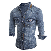 Men S Five Pointed Star Printing Long Sleeved Slim Denim Shirts Fashion Men Blue Cotton Autumn