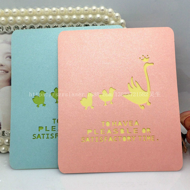 50 Pcs Laser Cutting Swan Pattern Blank Greeting Cards Postcards Gift Message Card Vintage Christmas Thanksgiving