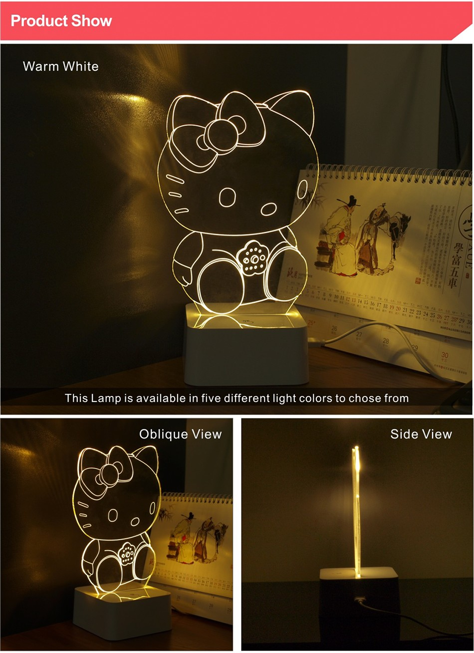 Novelty Art Decor Lamp 3d For luces de Hello Kitty Night Light  (2)