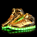 Unisex Led luz Shoes 2016 nova Casual couro ouro Chaussure Lumineuse High Top Usb Glowing sapatos quente tamanho grande 35 - 46