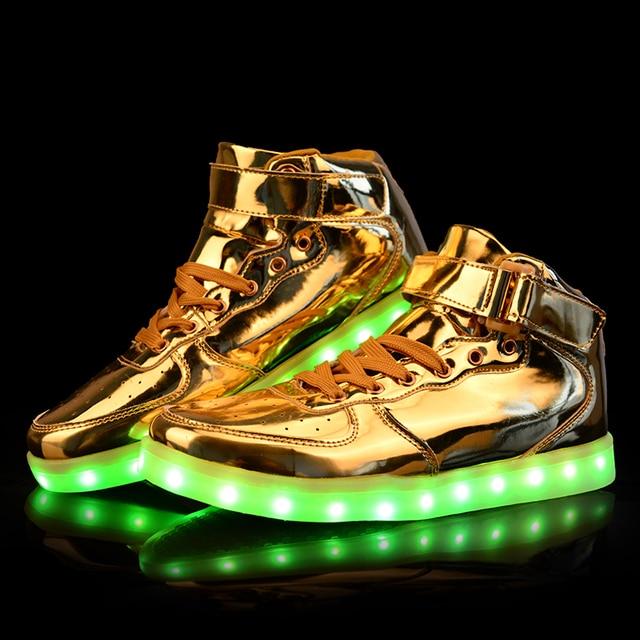 Unisex Led luz Shoes 2016 nova Casual couro ouro Chaussure Lumineuse High Top Usb Glowing sapatos quente tamanho grande 35 - 46
