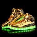 Unisex zapatos de la luz Led 2016 nueva Casual charol oro Chaussure Lumineuse en forma de bota que brilla intensamente zapatos Usb venta de gran tamaño 35-46