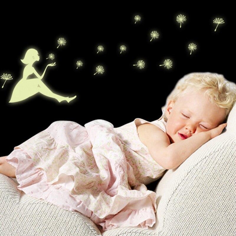 Glow Wall Sticker Girl stars fluorescent permanent luminous paste stickers childrens room decorative light night DA