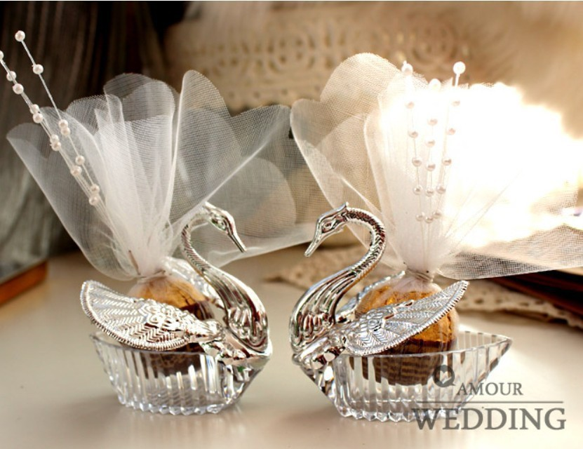2015 New European Styles Acrylic Silver Swan Sweet Wedding Gift Jewely Candy box Candy gift box