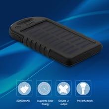 Dual USB 8000 мАч большой Ёмкость Солнечный Запасные Аккумуляторы для телефонов Батарея Зарядное устройство Питание с фонариком для смартфонов зарядки