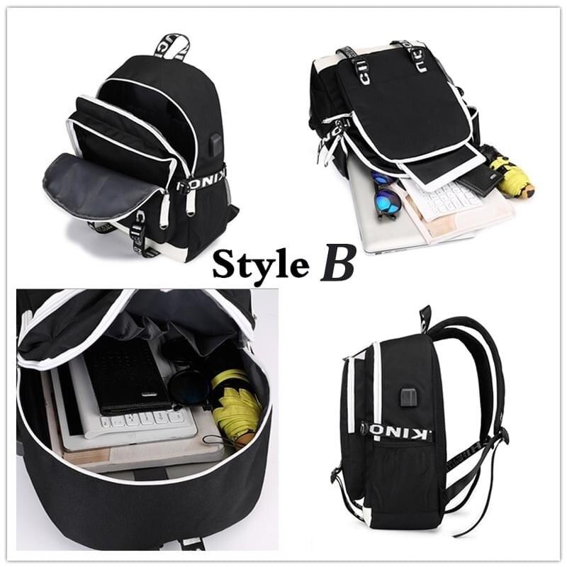 Image 5 - multifunction USB charging for teenagers boys Student Girls  School Bags Stranger Things Backpack travel Luminous Bag Laptop  PackBackpacks