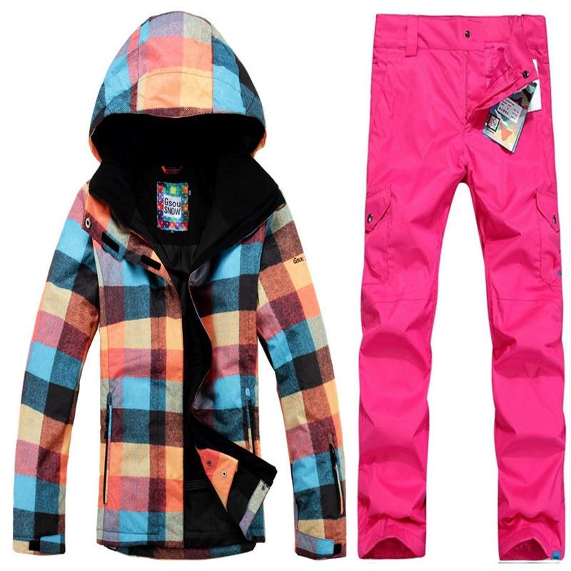 Hot 2019 Geometry Box Women Ski Suit Sets 10K Waterproof Warm winter Snow Suit Ladies Snowboard Clothes Jacket+pant hot sale open front geometry pattern batwing winter loose cloak coat poncho cape for women