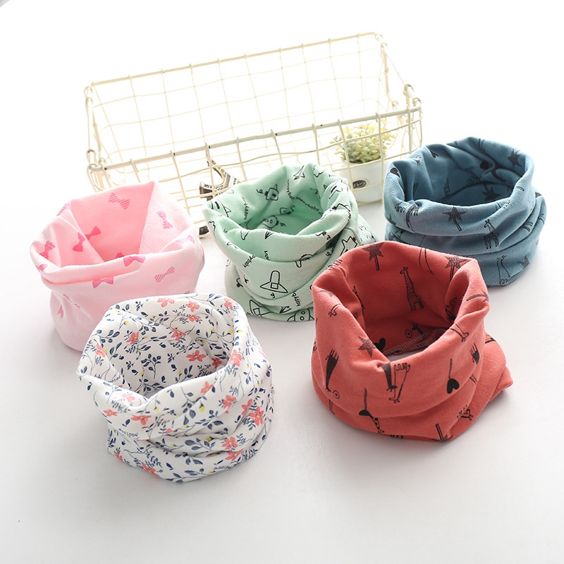 LARRIVED New Autumn Winter Girls 100% Cotton Scarf Children Scarf Bibs LIC Boys Girls O Ring Scarf Lovely Kids Collar Bufandas