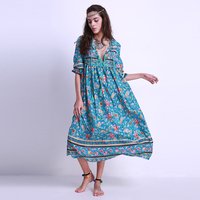 2017 Women Boho Chiffon Maxi Long Dress Vintage Long Sleeve Tie V Neck Loose Baggy Casual