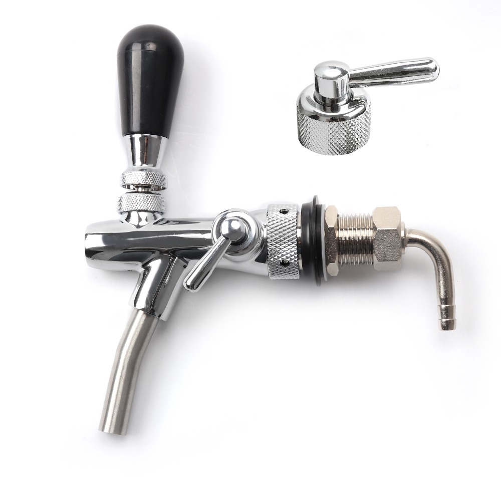 Draft Beer Faucet, Adjustable Beer Tap Faucet with Flow Controller Chrome Plating Shank with Thread Gas Ball Lock