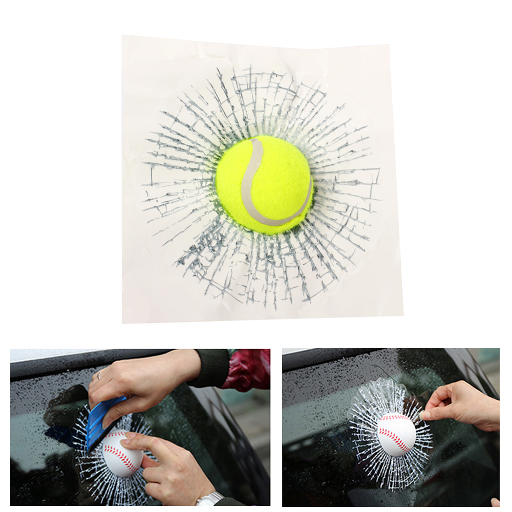 3D Car Stickers Funny Auto Car Styling Ball Hits Car Body Window Sticker Self Adhesive Baseball Tennis Decal Accessories drip biohazard skull respirator funny vinyl decal sticker car window bumper diy self adhesive car styling art stickers