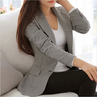 Slim Fit Plus Size Women Blazer Femme Long Sleeve Office Autumn Jackets Cotton Plaid Suit Women