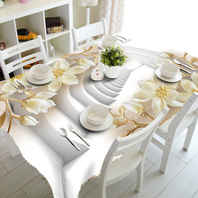 Customize 3D Tablecloth Europe Carved Flowers Pattern Waterproof cloth Thicken Rectangular Wedding table Home Textiles