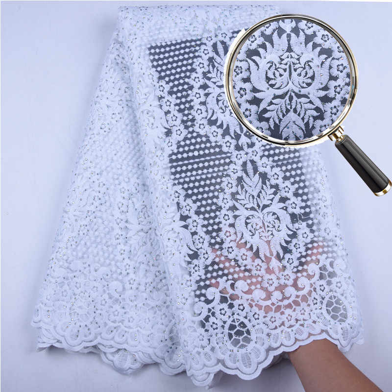 2019 Latest African Embroidery Tulle Lace Fabrics High Quality Stones French Milk Silk Lace Fabric For Party Dress 5 Yard A1556