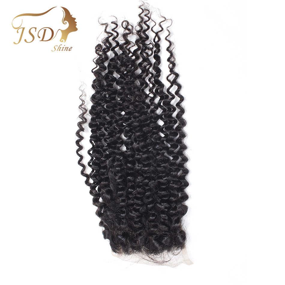 JSDShine cheveux brésiliens crépus bouclés dentelle fermeture 8-20 pouces 4*4 partie gratuite Remy couleur naturelle fermeture de cheveux humains livraison gratuite