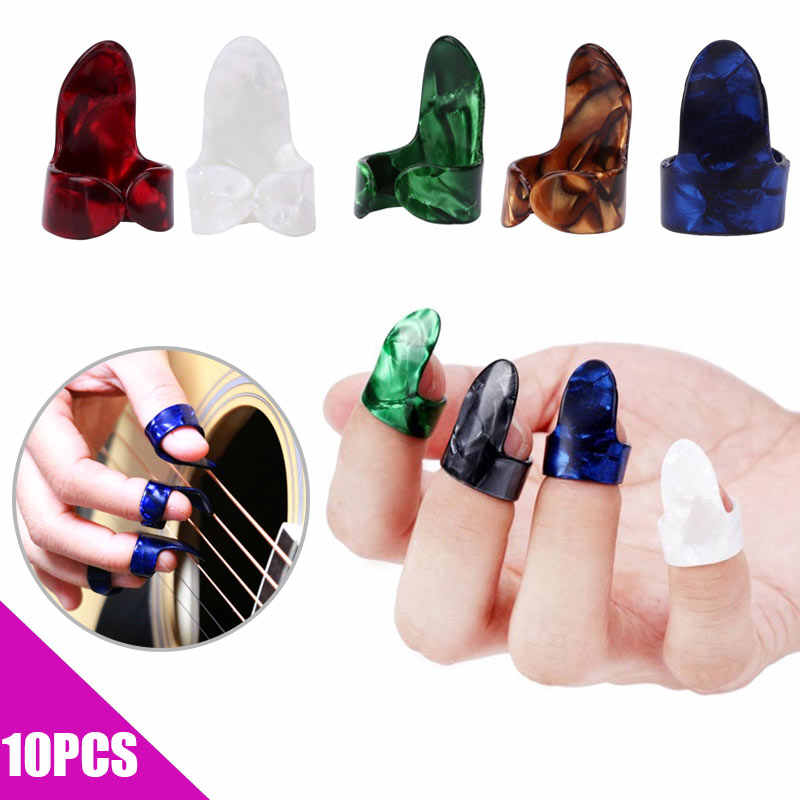 10 Pcs Thumb Finger Guitar Picks Plectrum Paddle Stainless Steel Instrument Accessory  YS-BUY