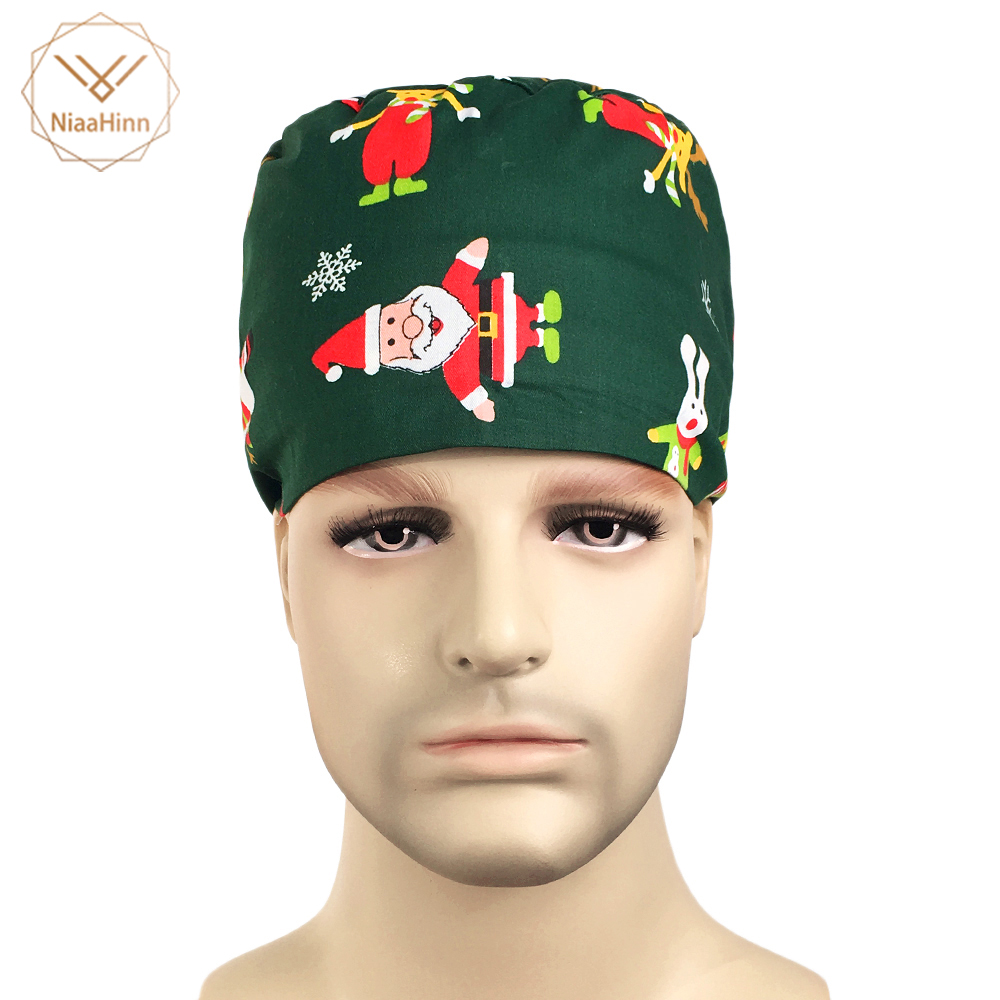 Doctor Surgical Scrub Cap Unisex Hospital Adjustable Medical Caps Scrub Lab Clinic Dental Operation Christmas Printed Hat Nurse