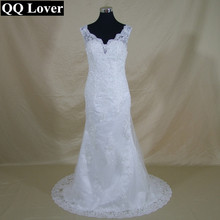 QQ Lover 2017 New V-Neck Mermaid Lace Wedding Dress See Through Back Custom-made Vestido De Noiva Bridal Gowns