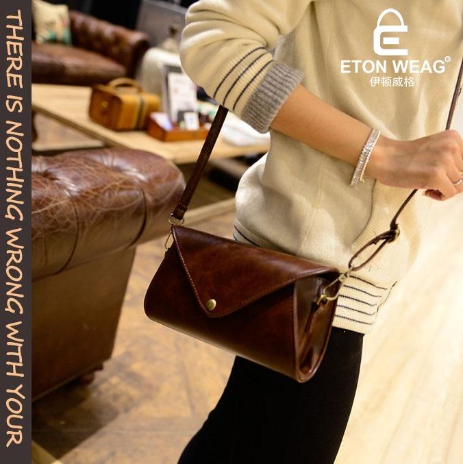 ETONWEAG Brands Cow Leather Crossbody Bags For Women Messenger Bags Brown Vintage Shoulder Bag Envelope Preppy Woman Bag 2017