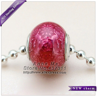 NEW 925 Sterling Silver E-Collection FREEDOM Transparent Cerise Enamel Charm Bead Fit European woman Jewelry Unique DIY Bracelet