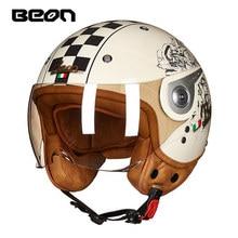 BEON Motorcycle Helmet Men Wonmen Vintage Scooter 3/4 Open Face casco capacetes Retro Biker Motorbike Visor