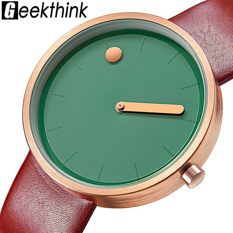 De creativo, diseñador de marca de reloj de cuarzo de cuero de los hombres casuales Unisex sencillo reloj de pulsera reloj de hombre regalo reloj Masculino
