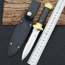 New Fixed 7CR17MOV Blade Knife With Sheath Wood+copper Handle Fox Camping Survival Knives Hunting Tactical Knifes Outdoor Tools