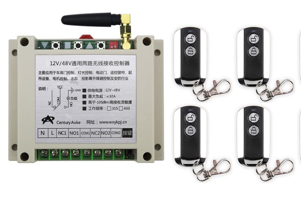 ФОТО latest DC12V 24V 36V 48V 10A 2CH Wireless Remote Control Switch System 1pcs Receiver & 4pcs 2 Keys metal waterproof Remote