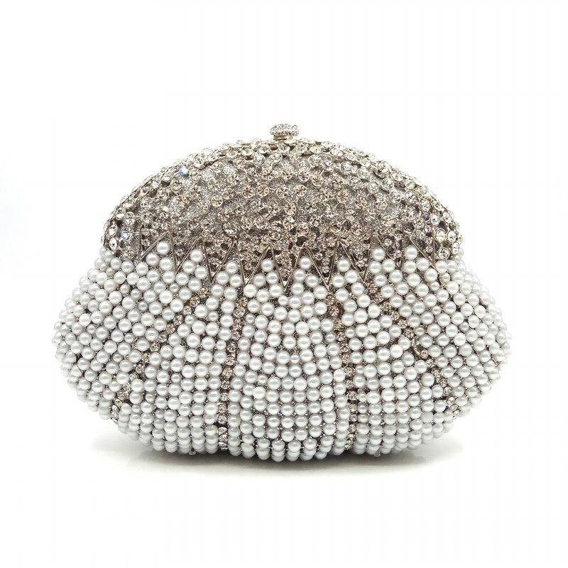 Elegante bolso de fiesta de noche para mujer diamantes elegantes monederos de lujo embrague nupcial fiesta perla Cartera de cristal bolso-in Bolso de noche from Maletas y bolsas    1