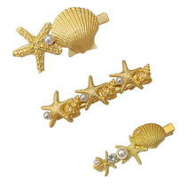 Ubuhle Fashion Summer Shell Hair Pins Spray Paint Starfish Hairclips for Women Accessories Hollow Gold Metal Jewelry