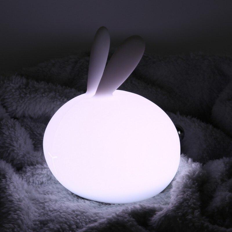 Мягкий силиконовый Банни USB Перезаряжаемые Грудное вскармливание ночники кролик ночник для детей