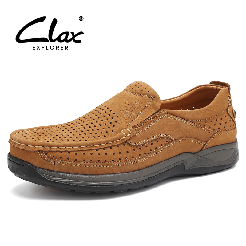 Clax Men Walking Shoes Summer Slip on 2017 Genuine Leahter Outdoor Casual Footwear Male Handmade Retro Shoe Breathable Classic branded men s penny loafes casual men s full grain leather emboss crocodile boat shoes slip on breathable moccasin driving shoes