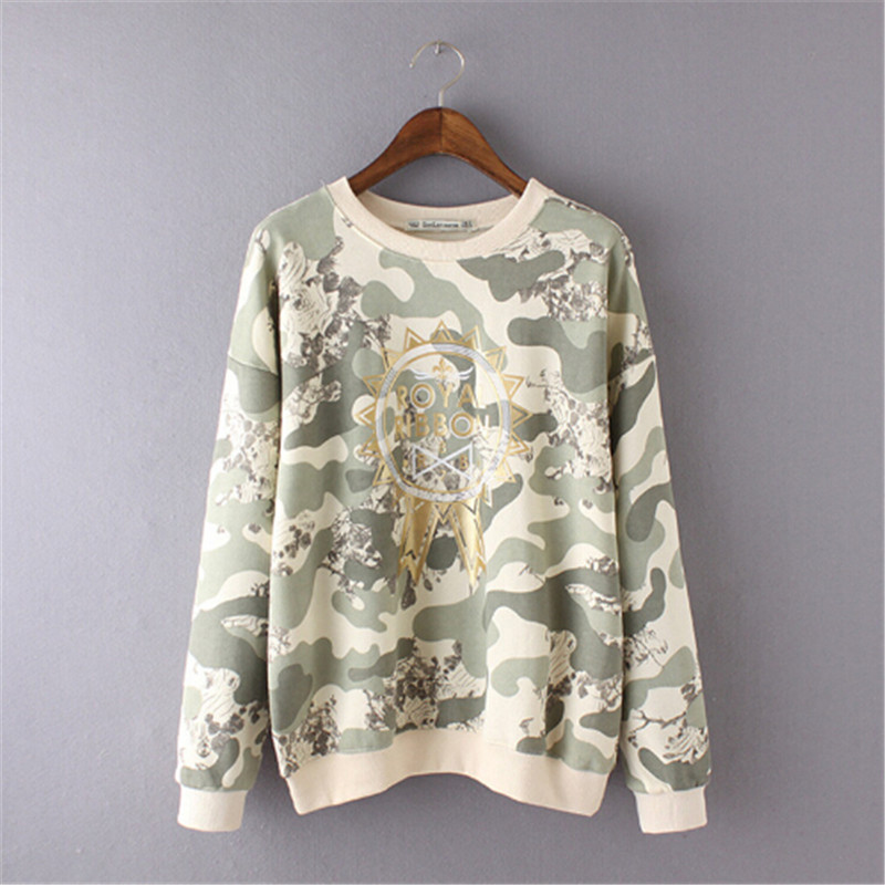 2016 New Fashion European Brand Camouflage Flowers Lolita Sweatshirts Woman Arrival Spri ...
