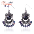 DAIMI 2016 Punk Style 5-6 mm Black Freshwater Pearl  Earrings Jewelry For Women Party Gift